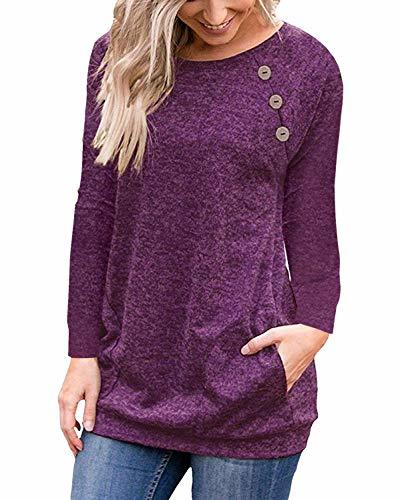 PinUp Angel Purple Red Women Casual Long Sleeve Button T-Shirt Tunic Top Solid B