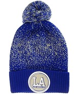 Los Angeles LA Patch Cuff Knit Pom Beanie Winter Hat (Royal/Gray) - $12.75