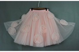 FLOWER CIRCLE Princess Tulle Skirt High Waist Handmade Blush Pink Midi Skirts