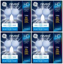 8x GE Lighting 3-Way Reveal HD+ Light Bulb 50/100/150-Watt A21 Incandescent NEW