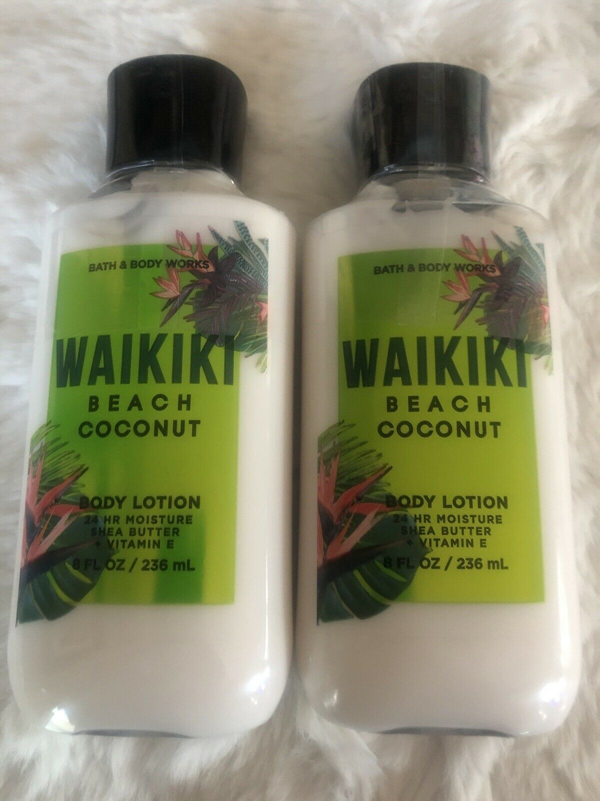 Primary image for BATH & BODY WORKS WAIKIKI BEACH COCONUT BODY LOTION 8 OZ, LOT OF 2 BOTTLES, NEW