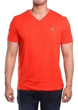 Lacoste Men's Sport Athletic Premium Pima Cotton V-Neck Shirt T-Shirt Ember