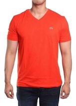 Lacoste Men's Sport Athletic Premium Pima Cotton V-Neck Shirt T-Shirt Ember - $42.50