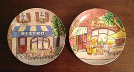 Set Of 2 Avon City Street Scenes BISTRO & BREAD China Canape Decorative Plates - $12.46