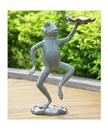 "Metal Bird Seed Feeder Dancing Frog Holding Lilypad 20.5"" H, Yard Decor - £131.85 GBP"