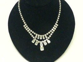 Vintage WEISS BAGUETTE Sparkly Clear RHINESTONE Double Row Necklace - $45.60