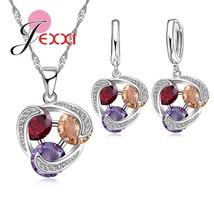 Three Color Rhombic Jewelry Set Crystal CZ Zirconia Silver Pendant Neckl... - $13.20
