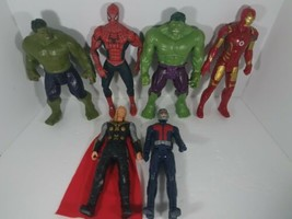 Action Figure Lot Of 6 Marvel Toys 11 Inch Antman Hulk Thor Spiderman Ironman - $34.64