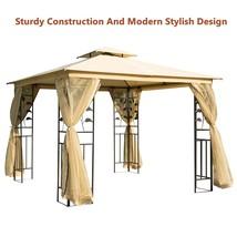 Sturdy Patio Metal Gazebo Garden Marquee Canopy Tent W/ Sidewall Mesh Be... - $324.84