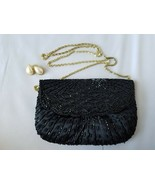 La Regale Vintage Evening Bag Purse Clutch w/Chain Black Beaded & Earrings - $75.32
