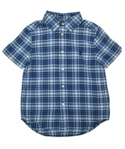 Polo Ralph Lauren Boys Blue Short Sleeve Button Down Shirt M Medium 10-12 9228-3 - $33.65