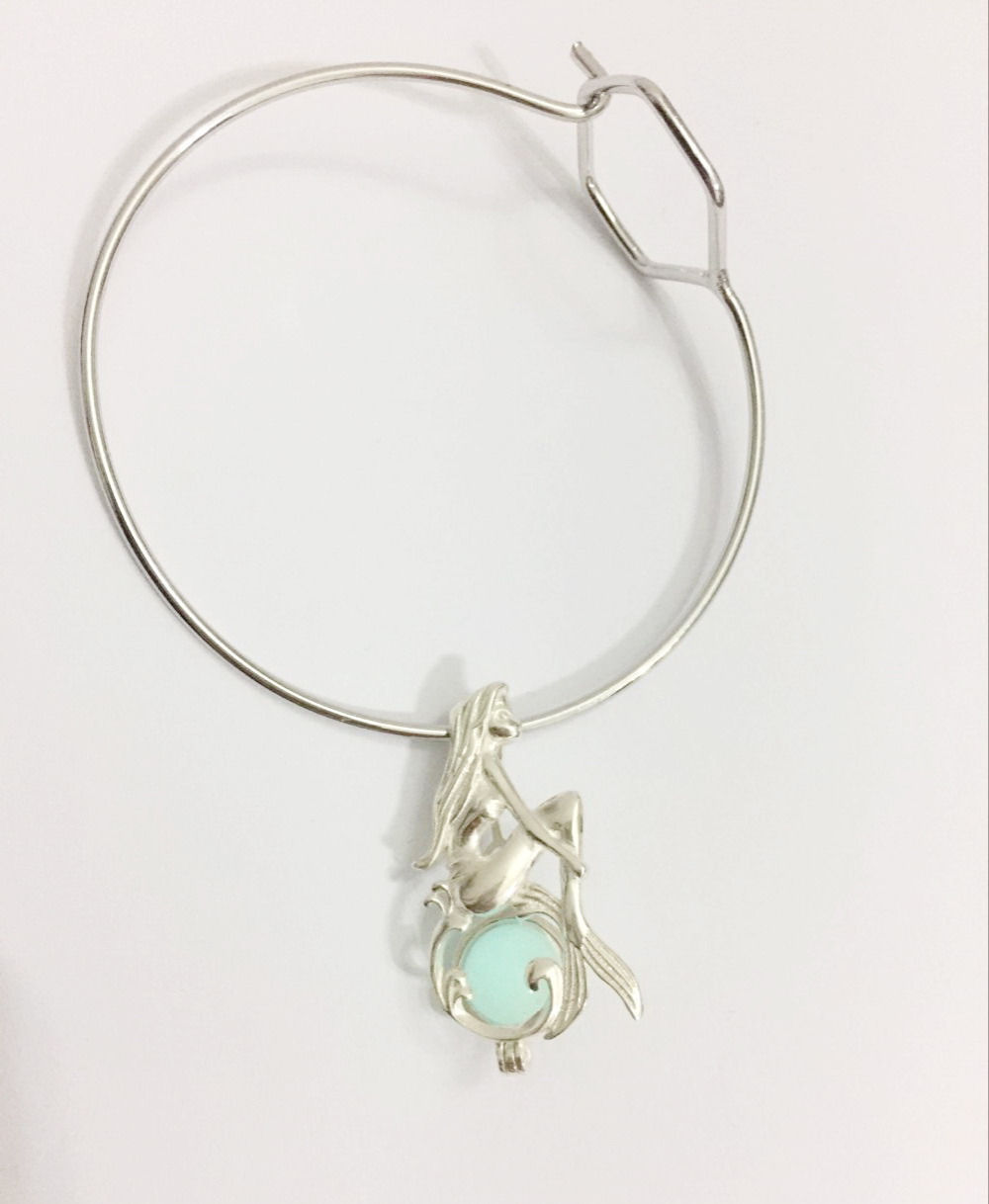925 Silver Mermaid Girl Sterling Silver Pearl Gem Bead Cage Pendant Fitting