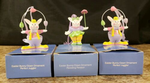 3 Avon Easter Bunny Clown Perfect Juggler Parading Parasol Plastic Figures