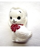 Miniature Ceramic White Lamb with Red Bow - $9.99
