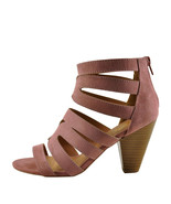 Qupid Chamber 26X Mauve Suede Women's Strappy Caged Stacked Heel  - $35.95