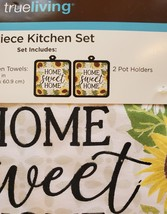 Sunflower Kitchen Set, 4-piece, Towels Pot Holders, Red Truck farmhouse decor image 4