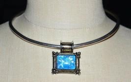 VTG TS-60 TAXCO .925 Sterling Silver Mexico Slide Necklace Blue Confetti Lucite - $84.15