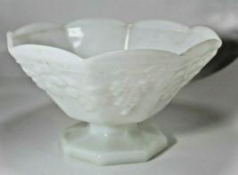 1960's Anchor Hocking Fruit Bowl White Milk Glass Harvest Pattern Textured Grape - $18.81