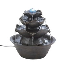 Garden Fountain, Lotus Bloom Tabletop Led Outdoor Garden Fountain Pump - $61.79