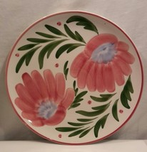 Himark Platter Large Round Ceramic Serving White w/Pink Flowers Made in ... - $46.74