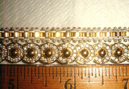 VTG ART DECO STYLE MODERN TWO TONE LINK CABLE RHINESTONE BAR BEAD BRACEL... - $137.99
