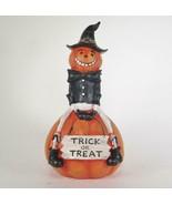 """Jolly Pumpkin Man Figurine Sitting on """"Trick or Treat"""" Pumpkin 9"""" Tall - $21.73"""