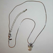 Avon NR Silvertone Pearlesque & Crystal Necklace with Extender J283 - $10.00