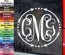 Circle Arrows & Dots Monogram Initials Personalized Decal Sticker 2 Size... - $4.21 - $5.79