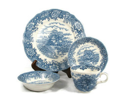 4 Piece Old Staffordshire Salem China Plate Saucer Cup Sauce Dip Bowl En... - $32.66