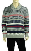 NEW MENS TOMMY HILFIGER SHAWL COLLAR COTTON WOOL GREY PULLOVER SWEATER $129 - £35.24 GBP
