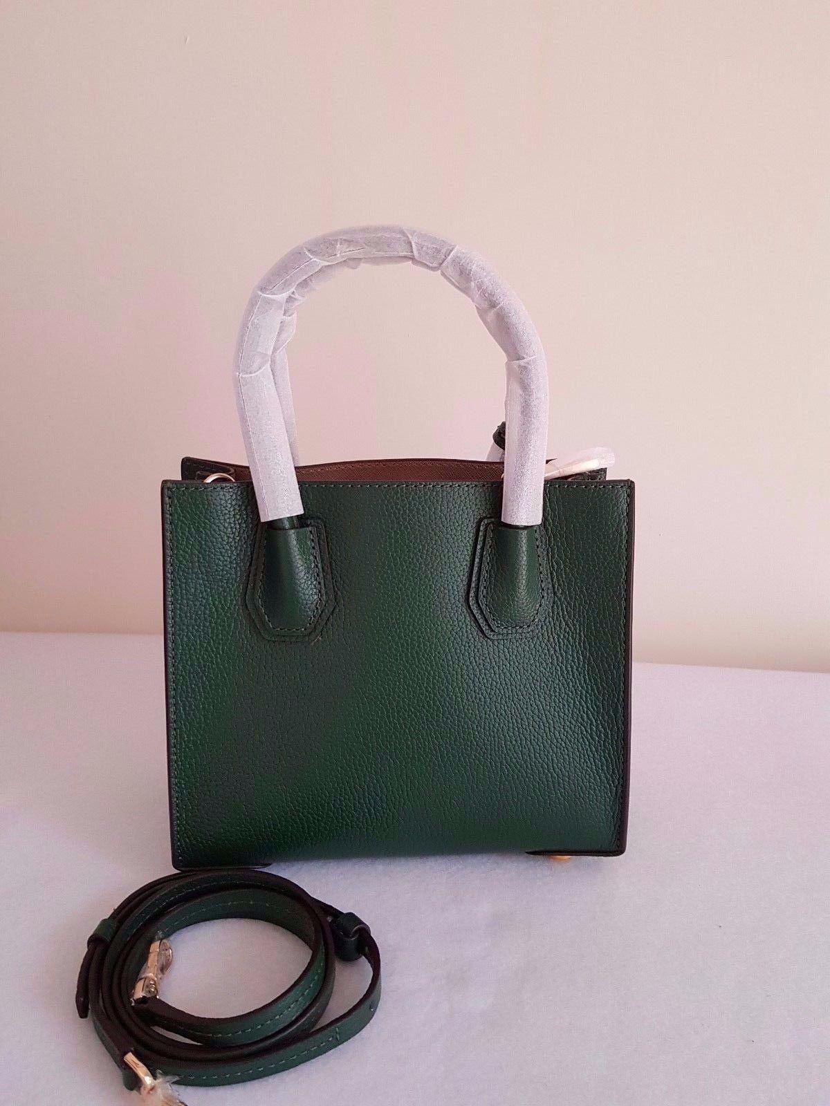 3add9a00fd4c MICHAEL KORS Mercer Leather Crossbody Full-Grain Pebbled Leather Moss Green