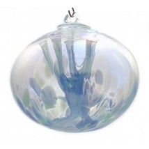 "6"" European Art Glass BLUE LAGOON IRIDIZED Ju Ju Witch Ball Oval Orb Sha... - $38.32"