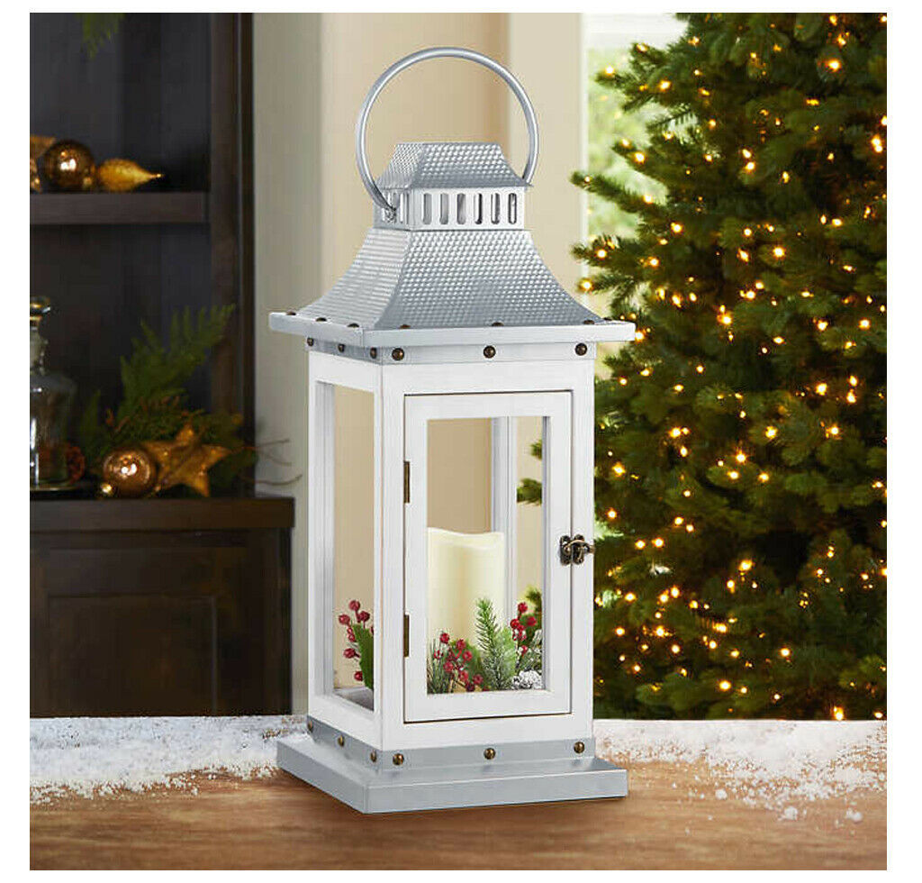 """24"""" Decorative Metal Lantern W/ LED Flickering Candle, White/Silver Christmas"""