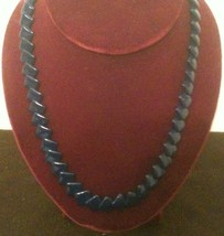 "Fabulous Trifari Deep Blue Diamond Shaped Beaded Necklace, 22"" - $13.36"