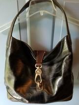 Dooney & Bourke Blk/Tan Croco Leather Logo Lock Clip Hobo shoulder bag purse - $152.54
