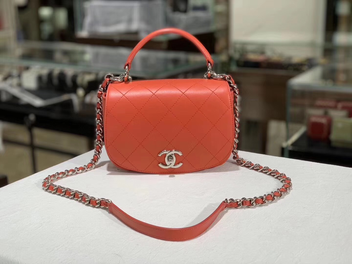100% Auth NEW Chanel RED Quilted Calfskin Top Handle Flap Bag RECEIPT