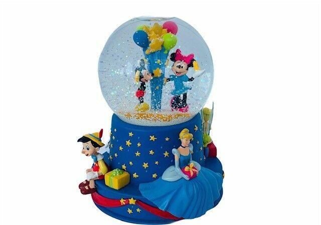 Disney Snow Globe Wish Upon Star snowglobe Mickey Pinocchio 101 Cinderella music - $145.08