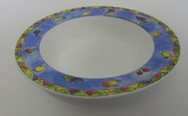 Sango Sangria Sue Zipkin Designer Rim Soup Bowl Blueberries Fruit Motif Blue - $12.75