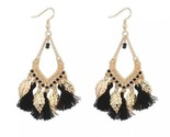 Gold leaf tassels earrings black thumb155 crop
