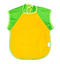 Summer Cotton Waterproof Short Sleeved Bib Baby Feeding Smock YELLOW, 3-5 Years