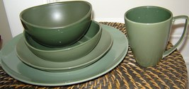 Kenneth Cole Reaction Scoop 20 Piece Dinner Set For 4 Green Solid Stoneware New - $349.50