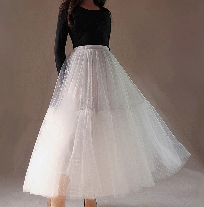 Long White Tulle Skirt WHITE Wedding Tulle Skirt Puffy Layered Polka Dot Pattern