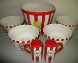 NEW ceramic popcorn bowls 7 piece Kitchen prep 101 by tabletops unlimited