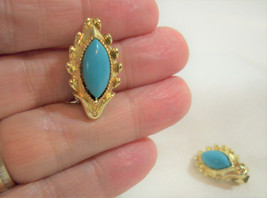 Marquise Cut Faux Turquoise Cab Gold Plate Clip Earrings Vintage Estate ... - $14.84