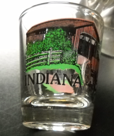 Primary image for Indiana Shot Glass Covered Bridge Horse Drawn Cart Farm Setting on Clear Glass