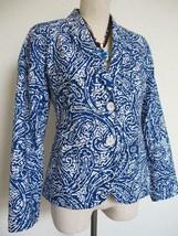 NWOT Talbots Petites Blazer 10P Blue White Batik Paisley Cotton Print Lined - $29.99