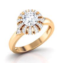 White Diamond Engagement Ring Bridesmaid Ring Jewelry Yellow Gold Ring Free Ship - $499.99