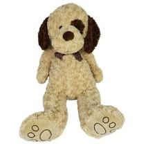 "Hug Fun Large Dog Plush Brown Curly Hair Plaid Bow Tie Stuffed Animal 30"" - $21.38"