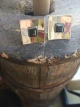 Vintage Sterling Silver + Onyx Mod Cufflinks Nice Rhodium Plated Shiny Bright! - $71.99