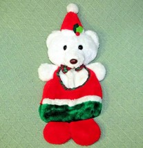 Vintage TEDDY BEAR STOCKING Plush Christmas Made in TAIWAN White Red Gre... - $32.73